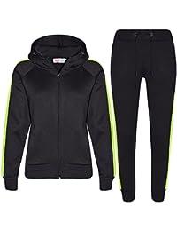 bc046a989ee A2Z 4 Kids® Enfants Filles Garçons Survêtement Designer Noir   Vert Plaine  Contraste Toison Encapuchonné