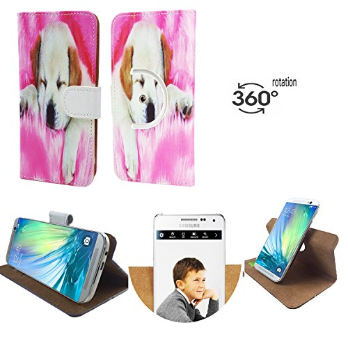 Handy Schutz Hülle | für simvalley MOBILE SPX-34| 360° Drehbare Funcktion | PU Leder | 360° Nano S Hund 1