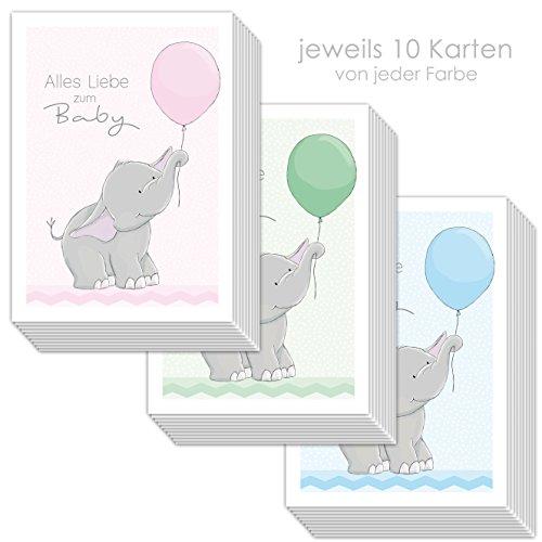"""30 Glückwunschkarten zur Geburt\""""ELLY ELEFANT\"""" DIN A6/Grußkarten Baby DIN A6/je 10 Stück in rosa grün und hellblau"""