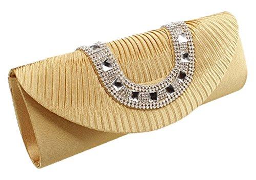 Peyviva Frauen Satin Plissee Abend Clutches Taschen mit Kristallrhinestone-orange Gold