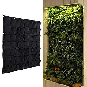 Demiawaking, fioriera in sospensione di tipo verticale, in poliestere, da appendere alla parete, adatta per giardinaggio, sale e ambienti interni, con 4, 6, 12 o 18 tasche, feltro, Black, 56 Pocket