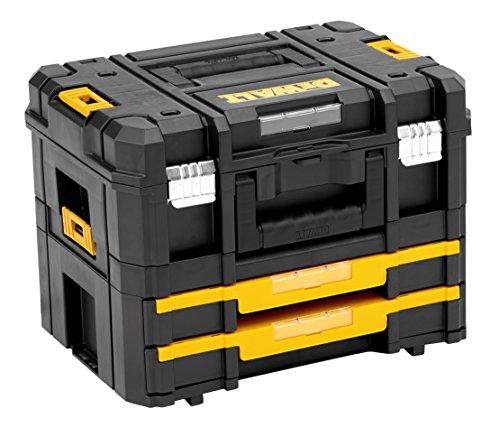 DeWALT TSTAK Combo kit. Color del producto: Negro, Amarillo. Ancho: 440 mm, Profundidad: 326 mm, Altura: 331 mm Peso y dimensiones -Ancho: 440 mm -Profundidad: 326 mm -Altura: 331 mm  Diseño -Color del producto: Negro, Amarillo