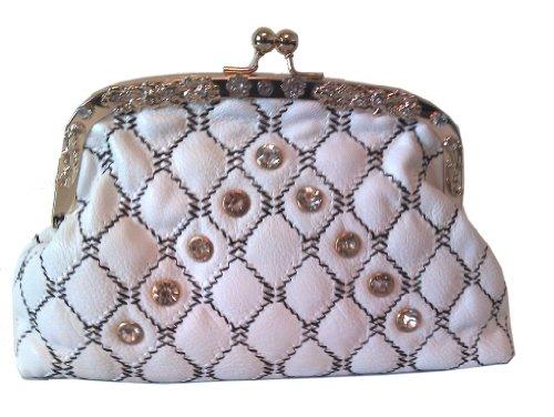 wunderschöne Seide Prinzessin Design Abendkasse Clutch-Bag, Farbe schwarz, weiß, durch Aimerfeel weiß