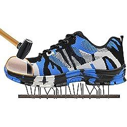 SITAILE Zapatos de Seguridad para Hombre Calzado de Trabajo con Punta de Acero Zapatillas Botas de Protección para Deporte Senderismo Industria,Azul,EU44