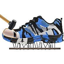 SITAILE Zapatos de Seguridad Para Hombre Calzado de Trabajo con Punta de Acero Zapatillas Botas de Protección Para Deporte Senderismo Industria