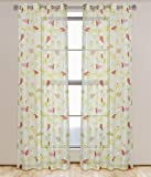 LJ Home Fashions Grommet Curtain Panels, White/Green/Red, 52 - Best Reviews Guide
