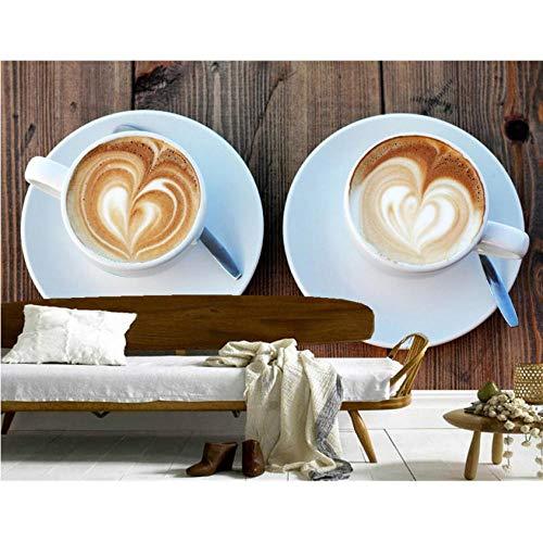 Hwhz Tapete der Wand 3d abziehbar Benutzerdefinierte Getränke Kaffeetasse Essen Tapete Wohnzimmer Sofa Tv Wand Restaurant Küche 3D Wandbilder Tapete-450X300Cm