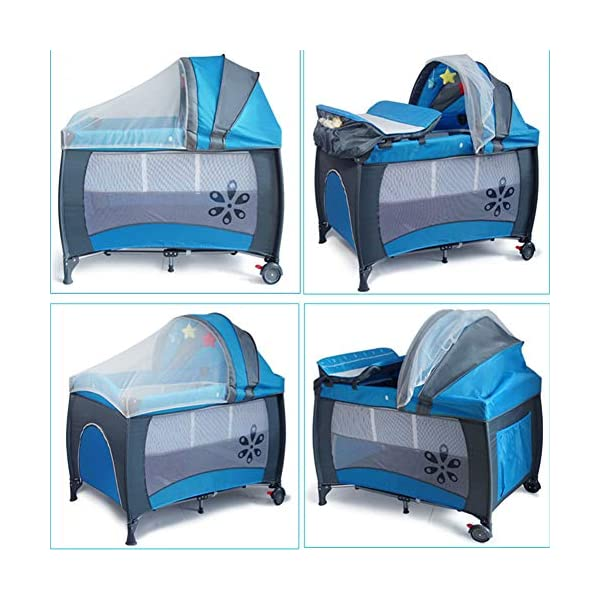 Mr.LQ Multifunctional Foldable Crib Portable Game Bed,Blue  [Folded Baby Cot]Due to its folding design, you can take it to anywhere as you like by packing it in the supplied carry bag, and it just takes you a while to fold or unfold it before using. [See-through safety mesh]It features mesh cloth on both sides, this netted areas allow your baby to see out clearly as well as an onlooker to see in to her/him, and it also offers great ventilation for your baby. [Easy to Move] It designed in two wheels and two legs, you can move it around easily without any problems with the help of two wheels, and there is no issue to worry the stability due to the two sturdy legs. 6