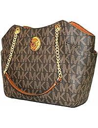 56dfe3ea648b MICHAEL Michael Kors Women's Jet Set Travel Large Chain Shoulder Tote  Printed Handbag (Brown/