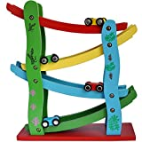 Trinkets & More™ - 4-Level Wooden Ramp Racer Miniature Games Speeding Car | Race Track Set | Toys for Boys Kids 3+Years