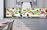 Küchenrückwand Folie selbstklebend OBST 260 x 60 cm | Klebefolie - Dekofolie - Spritzschutz für Küche | PREMIUM QUALITÄT
