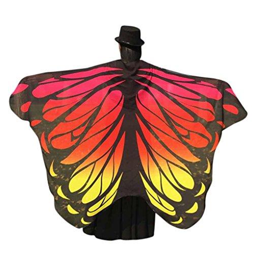 OVERDOSE Frauen 197 * 125CM Weiche Gewebe Schmetterlings Flügel Schal feenhafte Damen Nymphe Pixie Kostüm Zusatz (197 * 125CM, Orange 2) (Gute Kostüm Für Zwei Freunde)