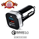 #3: Qualcomm® Certified Quick Charge 3.0 Mivi Car Charger for Super Fast charging for Galaxy S6/S7/Edge/Plus, Note 4/5, Nexus 6, Samsung Fast Charge and More (Quick Charge 3.0,2.0 Compatible)