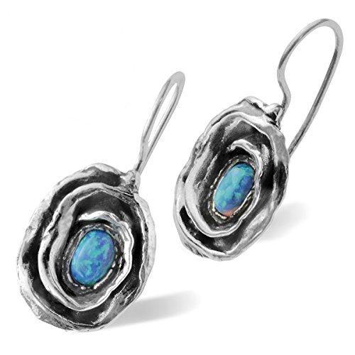 Ohrringe Rosen aus 925erSterling-Silber mit künstlichem blauem Opal und Drahthaken für sicheren Halt Opale Spiral