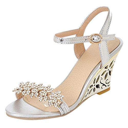 YE Damen Offener Open Toe 8cm Heels Wedges Keilabsatz Knöchelriemchen Kristall Sommer Sandalen Schuhe Mit Strass Silber