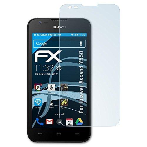 atFolix Schutzfolie kompatibel mit Huawei Ascend Y550 Folie, ultraklare FX Bildschirmschutzfolie (3X)