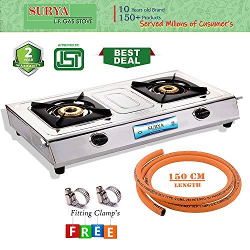 Surya LPG Stainless Steel 2 Burner Gas Stove with 1.5 Metre Suraksha LPG Rubber Hose Pipe (Cooktop, ISI Marked)