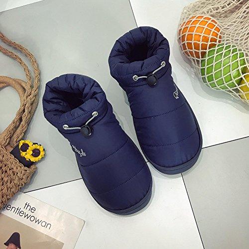 LaxBa Donna Uomo Indoor pattino antiscivolo pantofole Blu navy uomini