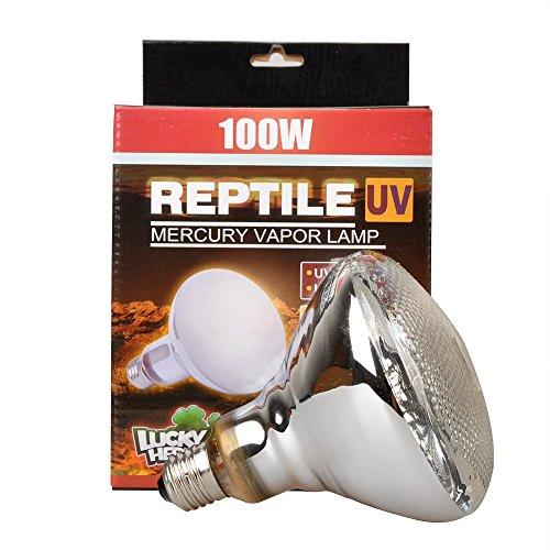Lucky Herp rettile UVA, UVB vapori di mercurio, lampadina E27a vite filettatura,100Watt,160Watt disponibile, trasparente