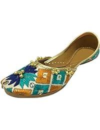 Kalra creaciones de la mujer tradicional con bordado de terciopelo hecho a mano indio étnico zapatos, color, talla 40 EU