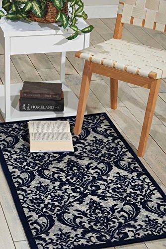 Nourison 99446341471–marfil azul marino power-loomed alfombra, marfil y azul marino, 2–3-inch X 3FT 9