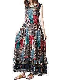 b2df800d1c20c Subfamily Chaud Vente Robe été Boho Longue Swing Vintage Femme bohême Maxi  Longue Robe Imprimé Elégante