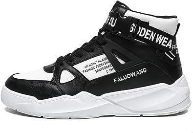 Scarpe da Tennis da Uomo Alte in Pelle Sintetica Antiscivolo con Lacci Scarpe da Basket con Piattaforma Estate Fibbia Autunno Scarpe Sportive con Punta Tonda