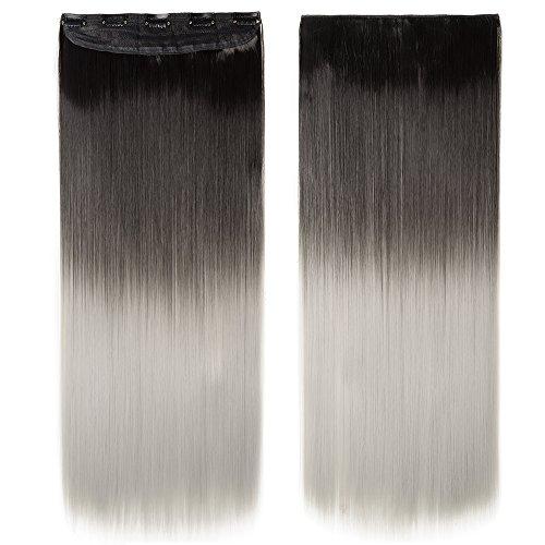 Extension clip capelli lisci 63cm fascia unica sintetica estensione clip one piece 120g - nero scuro ombre grigio argento