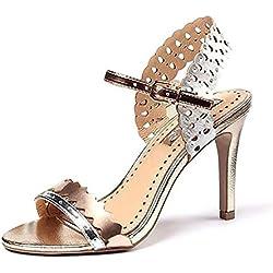 YEEY Damen Sommer Pumps High Heel Sandals Knöchel Armband Strass echt Leder Sandals Club Bankett Shopping , silver , 39