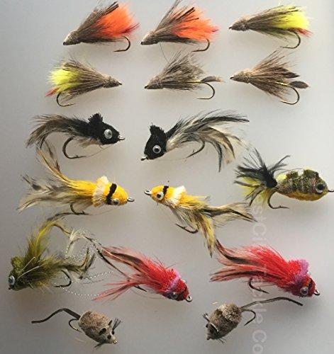 BestCity Tackle Lot de 16 mouches pour pêche au brochet avec boîte de rangement