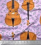 Soimoi Lila Baumwolljersey Stoff Noten & Violine