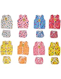 Fareto New Born Baby Clothing Set 8 Baby Front Open Jhabla with 8 Matching Single Layer Tying Nappies(Assorted)(0-6 Months)