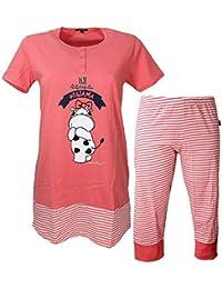 1e6b8297e77b Crazy Farm Pigiama Donna Fresco Cotone Manica Corta + Pinocchietto Rosa  15416
