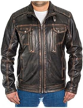 Chaqueta de cuero suave de la motocicleta afligida vintage negra de los hombres con efecto de la marr—n