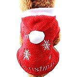 Amphia - Gestickter Mantel des Haustierhaustierkorallen-Samts,Weihnachtsschnee-Hundewelpen-weiche Kleidungs-Haustier-Hundemantel(M,Rot)