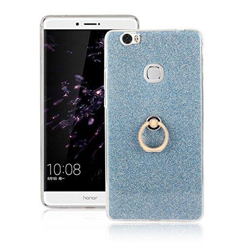 Meimeiwu 2 in 1 Ultra Slim TPU Bumper Back Cover Case Custodia With 360 Degree Rotating Ring per Huawei Honor 6 Plus - Oro Blu