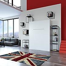 SMARTBett Cama plegable 160cm vertical ssomier cómodo 1900N resortes de gas para colochones de 25kg cama plegable & cama de pared sin colchón (Blanco)