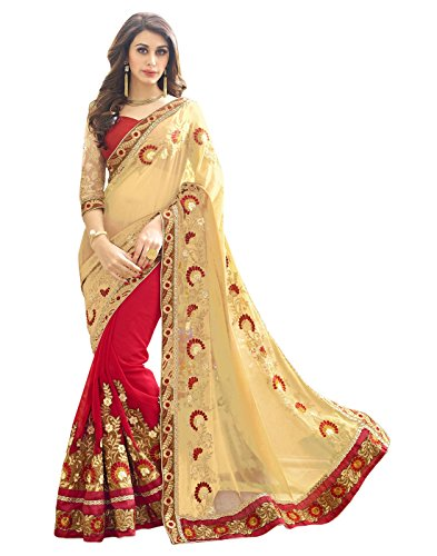 SURAT TEX Saree (Woman`s Clothing Saree For Woman Latest Desigen Wear Sarees Collection In Cream & Red Color Georgette(60 Gram) & Dupion Net Material Latest Sarees With Designer Blouse Free Size Beaut