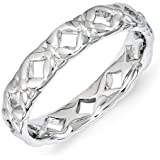 Stackable Expressions Size 6 - Kisses Elaborate Band Sterling Silver Stackable Ring UK Ring Size - L