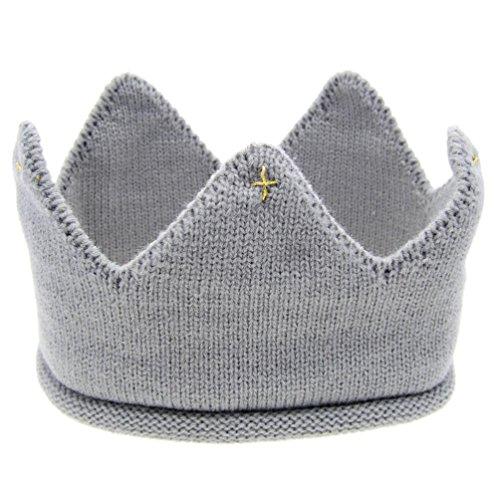 Ularma Baby Mütze Kaiserkrone Weichen Wolle Hut Kinder Cap Kopfband Kostüm für: 6M-3Jahr Baby (grau)
