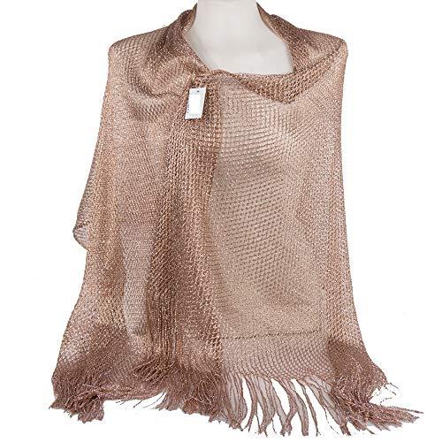 Emila stola cerimonia coprispalle elegante con frange a rete foulard scialle grande bronze l190xh70
