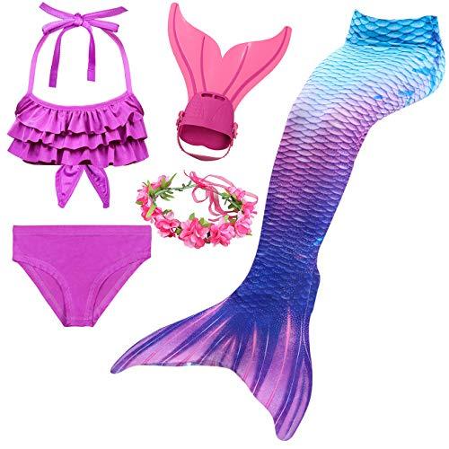 Träume 4 Stück Set (Mädchen Meerjungfrau Schwanz Badeanzug - Prinzessin Cosplay Bademode für das Schwimmen mit Bikini Set und Monoflosse, 4 Stück Set)