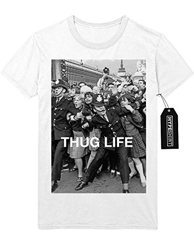 T-Shirt THUG LIFE RIOT Anarchy Mafia Gangster Every Thing Is Not Legal Lifestyle Polizei Police London D950005 Weiß