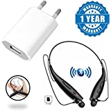 Captcha KBP 730T Plus Bluetooth Neckband Earbud Headset With TF Card Slot & 1amp Universal Wall Charger Adapter Compatible With Xiaomi, Lenovo, Apple, Samsung, Sony, Oppo, Gionee, Vivo Smartphones (One Year Warranty)