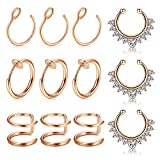 MODRSA Fake Nasenpiercing Nasenring Hoop 12 Stück Rose Gold Fake Lippenpiercing Helix Tragus Ohr Piercing Septum Ring Non-Pierced Nasenstecker Test