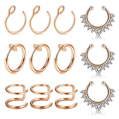 MODRSA Fake Nasenpiercing Nasenring Hoop 12 Stück Rose Gold Fake Lippenpiercing Helix Tragus Ohr Piercing Septum Ring Non-Pierced Nasenstecker