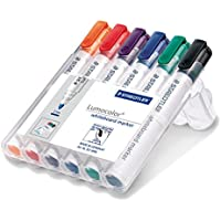 STAEDTLER Lumocolour Whiteboard Marker with Bullet Tip - Assorted Colours, Pack of 6