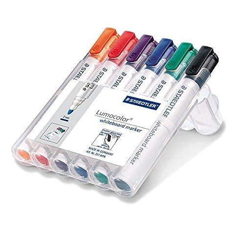 Staedtler Lumocolor 351 WP6 Whiteboard-Marker, Rundspitze ca. 2 mm Linienbreite, Set mit 6 Farben, hohe Qualität, trocken und rückstandsfrei abwischbar von (Porzellan Spielzeug)