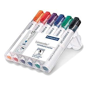 Staedtler 351 WP6 – Rotuladores para pizarra blanca Lumocolor, inodoro, secado rápido y recargable, paquete de 6 colores
