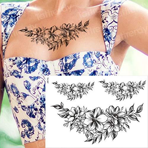 3 Stücke-Schwarz Rose Tattoo wasserdicht Tattoo Aufkleber Pfingstrose Blume Tattoo Bleistift Zeichnung Blatt Tattoo weiblichen körper Kunst -